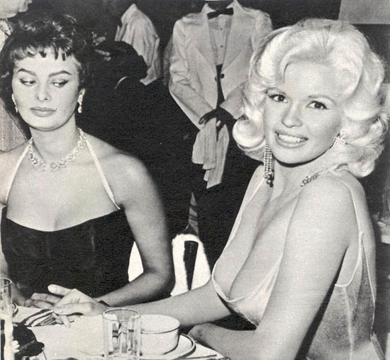 Sophia Loren and Jayne Mansfield at Romanoff's, 1957. Photo by Joe Shere.